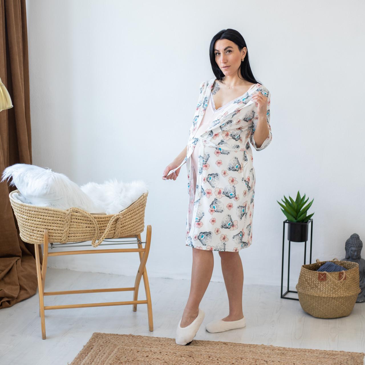 """Интерлочный комплект в роддом халат с ночной для беременных и кормящих мам """"Teddy"""" 44-52"""
