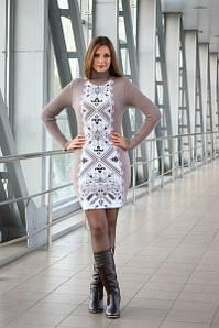 Вязаное бежевое платье Ольга