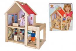 Домик для кукол деревянный, двухэтажный, с куклами и аксессуарами, Eichhorn