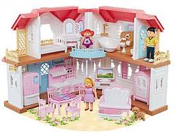 Домик для кукол (с мебелью и куколками), двухэтажный