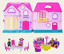 Домик для кукол на батарейках, двухэтажный (муз_свет, фигурки семьи, мебель), My Plesant Home