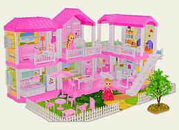 Кукольный домик 2 этажа (мебель, 2 куколки, лестница, аксессуары, свет)