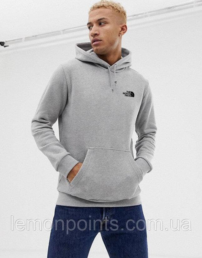 Мужская спортивная толстовка, худи, кенгурушка THE NORTH FACE (Зе Норз Фейс) Серый