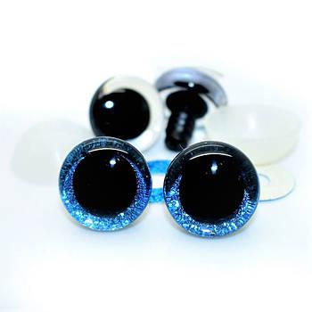 Глазки для игрушек 3D Блестящие 12 мм, голубые