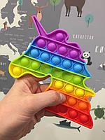 Поп ИТ, Детская игрушка Антистресc POP IT - ЕДИНОРОГ, в радужном цвете