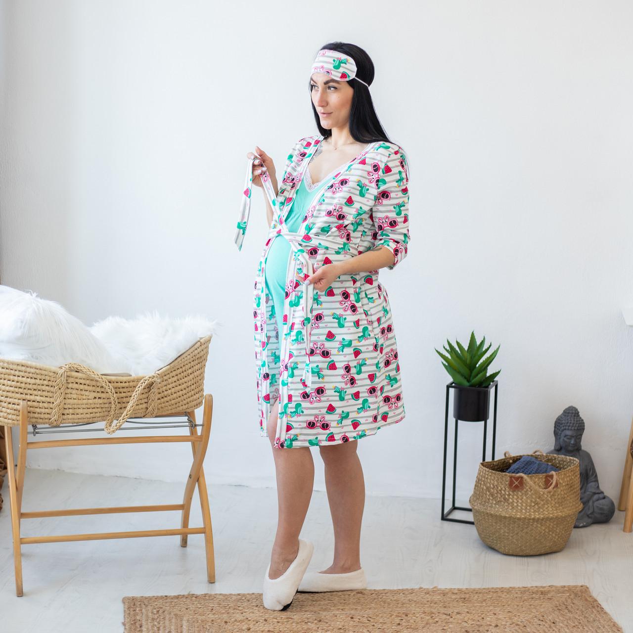 """Трикотажный женский комплект халат с ночной в роддом  """"Flamingo"""" р.44-48"""