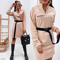 Трендові плаття з поясом коротке з накатом в спортивному стилі, р-ри 42-48 арт. 370