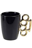 Чашка с кастетом (черная с золотом)