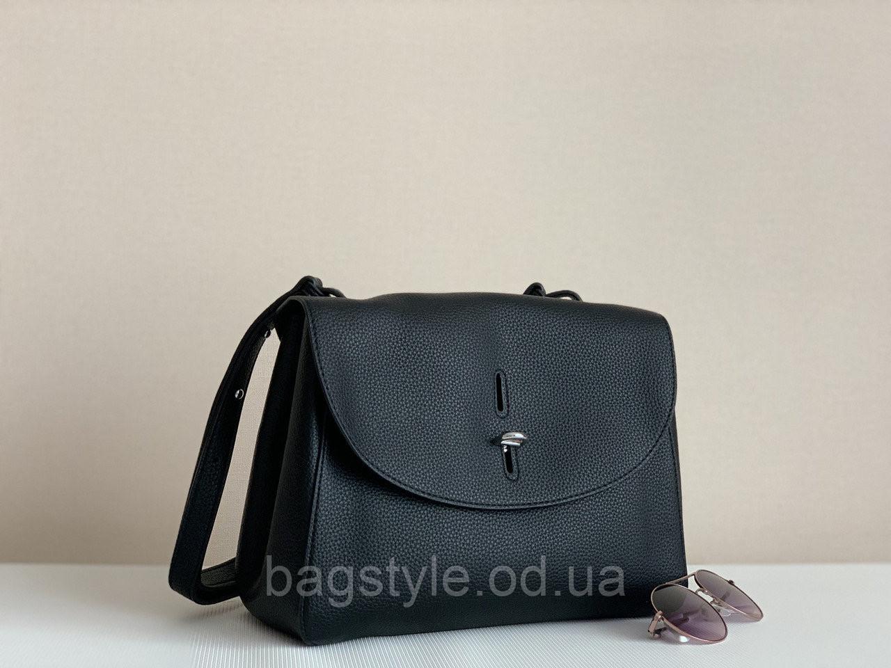 Жіноча чорна наплічна сумка класична