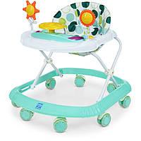 Ходунки детские Bambi M 4167 Turquoise светящаяся игровая панель с рулем, музыка, силиконовые колеса