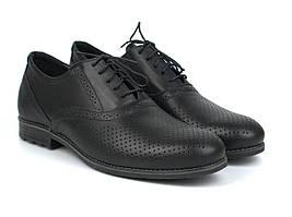 Летние туфли с перфорацией кожаные черные обувь мужская на широкую ногу Rosso Avangard Felicite Black Perf
