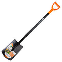 Лопата штыковая прямоугольная с металлической ручкой 290×195×1170мм 2.0кг FLORA (5045404)