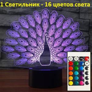 """3D светильники ночники. """"Павлин"""", Детские настольные лампы, Новогодние подарки"""