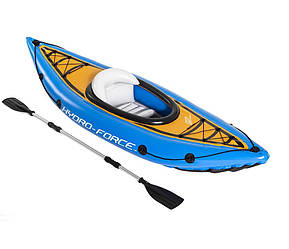 Одноместная надувная байдарка каяк с веслом Bestway 65115 Cove Champion, 275x81 см, с веслами, синяя