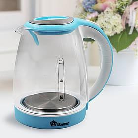 Чайник Domotec MS 8111 Синій/Білий (1.8 л, 2200Вт, скло)