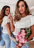 Блузка женская летняя модного кроя из натуральной прошвы р-ры 42-44,46-48 арт р15397, фото 1