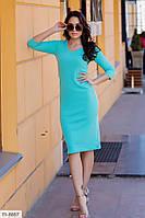 Облегающее женское платье за колено из трикотажа резинка рукав три четверти р-ры 42-48 арт.  114