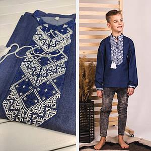Подростковая вышиванка Звездочка на джинсе с біло-синьою вышивкой