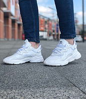 Кроссовки мужские Adidas Ozweego White / Адидас Озвиго белые кожаные рефлективные весенне-летние
