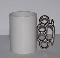 Чашка с кастетом (белая с серебром)