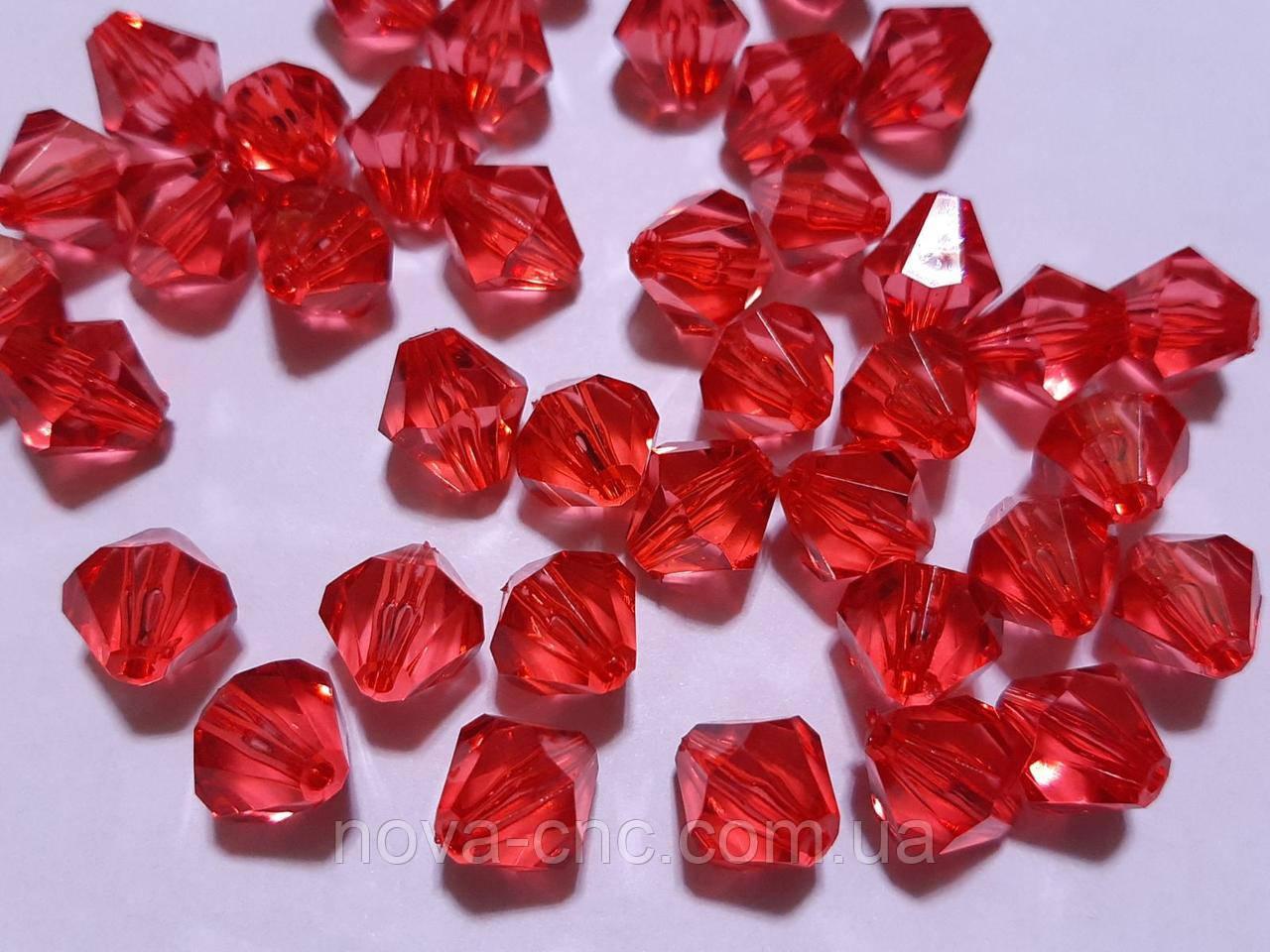 """Намистини акрил """"Біконус"""" червоний 7 мм 500 грам"""