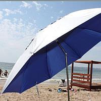 Пляжный зонт с клапаном, системой ромашка, в 3 сложения с колышками и держателем.