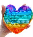 Антистрес сенсорна іграшка Pop It Нескінченна пупырка антистрес Різнобарвний серце, фото 3