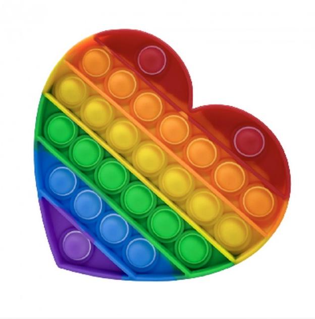 Антистрес сенсорна іграшка Pop It Нескінченна пупырка антистрес Різнобарвний серце