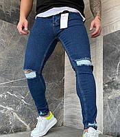 Мужские джинсы зауженные синие рваные/ Турция