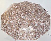 Зонт бежевый с коричневым, цветы 33_2_44a3