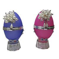 Скринька Яйце з перлами акрил № 8-212