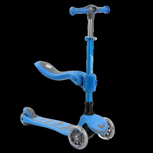 Самокат трехколесный детский 3 в 1 с сиденьем, складной руль, колеса PU 12см светятся Best Scooter Т-04177