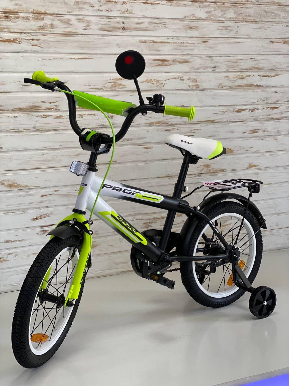 Велосипед Profi Inspirer 16 дюймів, Чорно-біло-салатовий, SY1654