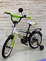 Велосипед Profi Inspirer 16 дюймів, Чорно-біло-салатовий, SY1654, фото 1