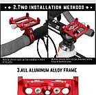 """Велосипедный держатель для смартфона 3,5-6,2"""" алюминиевый с креплением на руль/вынос GUB G-86 красный, фото 3"""