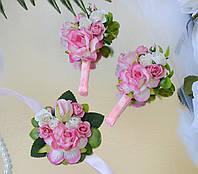 Комплект свадебных бутоньерок в розовом цвете (для жениха, свидетеля и свидетельницы)