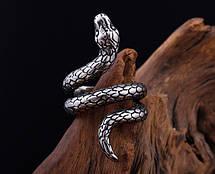 Кільце Жіноче Чоловіче City-A Кільце Змія спіраль Розмір 19 з Титанової Стали колір Срібне №3158, фото 2