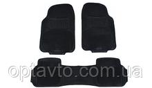 Авто килимки резинові універсальні! Килимки в салон автомобіля (4 шт. + перегородка) Чорний. KCM-843