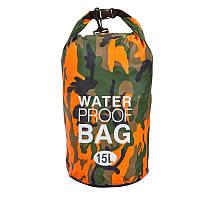 Гермомішок водонепроникний ZELART Waterproof Bag Об'єм 15л PVC Камуфляж Оранжевий (TY-6878-15)