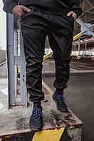 Мужские штаны карго с манжетами и карманами на резинке демисезонные из SoftShell, черные