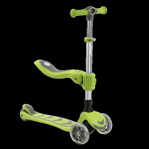 Самокат трехколесный детский 3 в 1 с сиденьем, складной руль, колеса PU 12см светятся Best Scooter Т-07196