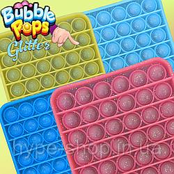 Сенсорна іграшка Pop It антистрес квадратна з блискітками