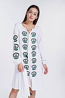 Стильное модное повседневное платье-вышиванка расклешенное