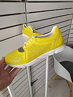 Мокасини жіночі жовті шкіряні з перфорацією, 36,38,39 розміри