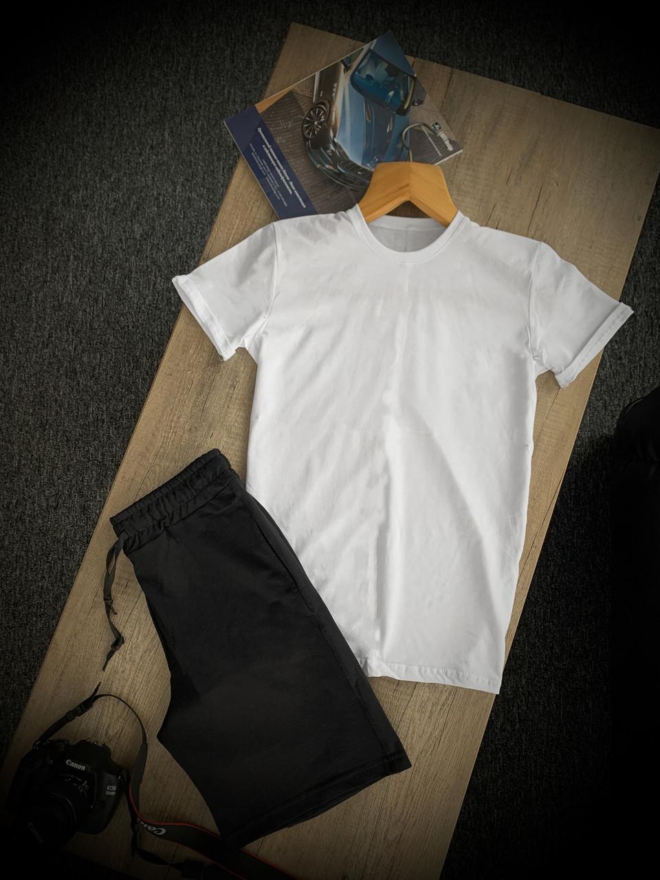Комплект футболка біла, шорти чоловічі чорні CROSSGO   Костюм літній ЛЮКС якості