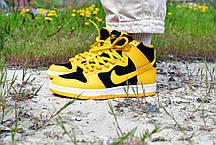 """Кроссовки мужские Nike Dunk High """"Black/Varsity Maize"""" Найк Данк Высокие Реплика, фото 2"""