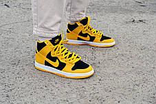 """Кросівки чоловічі Nike Dunk High """"Black/Varsity Maize"""" Найк Данк Високі Репліка, фото 2"""