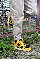 """Кросівки чоловічі Nike Dunk High """"Black/Varsity Maize"""" Найк Данк Високі Репліка, фото 3"""