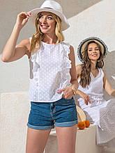 Белая блузка  из прошвы с рюшами на полочке ЛЕТО
