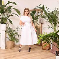 Женское платье летнее белое миди большого размера с юбкой клеш и поясом